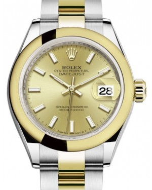 Rolex Lady Datejust 28 Yellow Gold/Steel Champagne Index Dial & Smooth Domed Bezel Oyster Bracelet 279163 - BRAND NEW