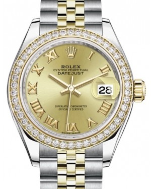Rolex Lady Datejust 28 Yellow Gold/Steel Champagne Roman Dial & Diamond Bezel Jubilee Bracelet 279383RBR - BRAND NEW