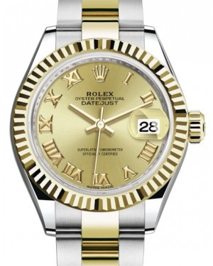 Rolex Lady Datejust 28 Yellow Gold/Steel Champagne Roman Dial & Fluted Bezel Oyster Bracelet 279173 - BRAND NEW