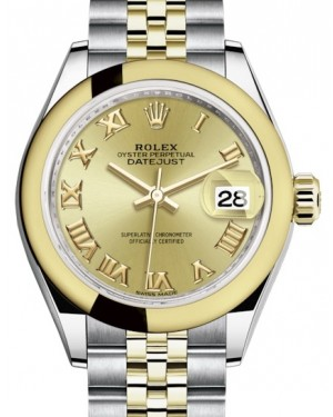 Rolex Lady Datejust 28 Yellow Gold/Steel Champagne Roman Dial & Smooth Domed Bezel Jubilee Bracelet 279163 - BRAND NEW