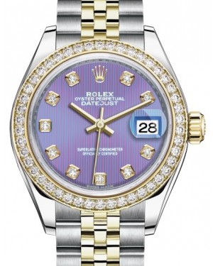 Rolex Lady Datejust 28 Yellow Gold/Steel Lavender Diamond Dial & Diamond Bezel Jubilee Bracelet 279383RBR - BRAND NEW