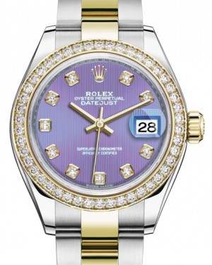 Rolex Lady Datejust 28 Yellow Gold/Steel Lavender Diamond Dial & Diamond Bezel Oyster Bracelet 279383RBR - BRAND NEW