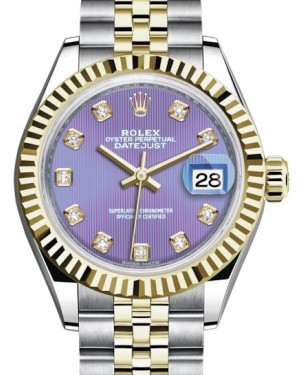 Rolex Lady Datejust 28 Yellow Gold/Steel Lavender Diamond Dial & Fluted Bezel Jubilee Bracelet 279173 - BRAND NEW