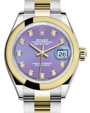 Rolex Lady Datejust 28 Yellow Gold/Steel Lavender Diamond Dial & Smooth Domed Bezel Oyster Bracelet 279163 - BRAND NEW