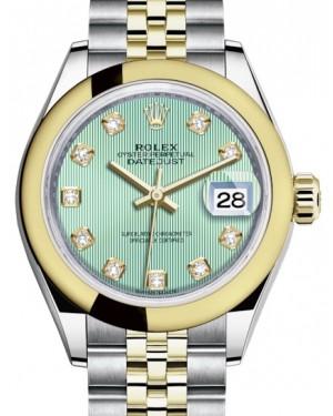 Rolex Lady Datejust 28 Yellow Gold/Steel Mint Green Diamond Dial & Smooth Domed Bezel Jubilee Bracelet 279163 - BRAND NEW