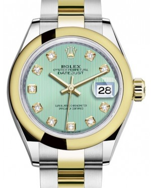Rolex Lady Datejust 28 Yellow Gold/Steel Mint Green Diamond Dial & Smooth Domed Bezel Oyster Bracelet 279163 - BRAND NEW