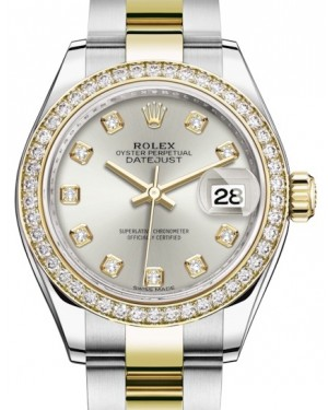 Rolex Lady Datejust 28 Yellow Gold/Steel Silver Diamond Dial & Diamond Bezel Oyster Bracelet 279383RBR - BRAND NEW