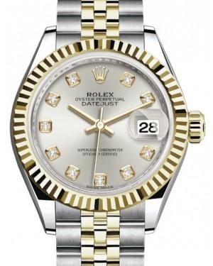 Rolex Lady Datejust 28 Yellow Gold/Steel Silver Diamond Dial & Fluted Bezel Jubilee Bracelet 279173 - BRAND NEW