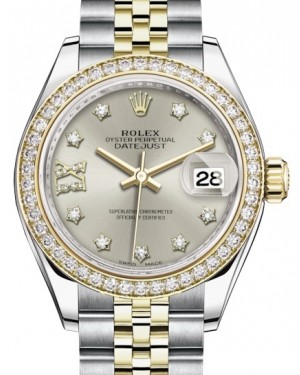 Rolex Lady Datejust 28 Yellow Gold/Steel Silver Diamond IX Dial & Diamond Bezel Jubilee Bracelet 279383RBR - BRAND NEW