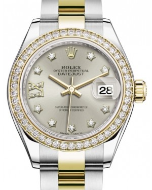 Rolex Lady Datejust 28 Yellow Gold/Steel Silver Diamond IX Dial & Diamond Bezel Oyster Bracelet 279383RBR - BRAND NEW