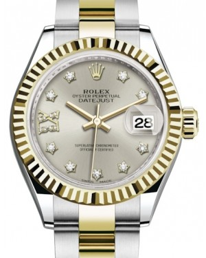 Rolex Lady Datejust 28 Yellow Gold/Steel Silver Diamond IX Dial & Fluted Bezel Oyster Bracelet 279173 - BRAND NEW