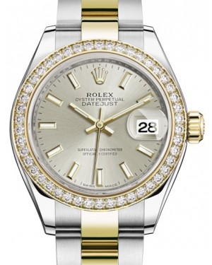 Rolex Lady Datejust 28 Yellow Gold/Steel Silver Index Dial & Diamond Bezel Oyster Bracelet 279383RBR - BRAND NEW