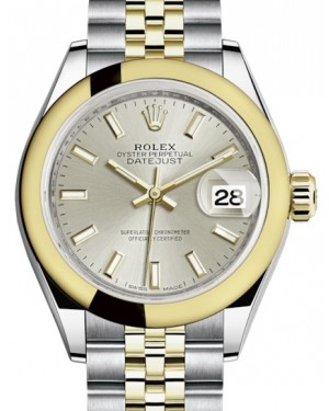 Rolex Lady Datejust 28 Yellow Gold/Steel Silver Index Dial & Smooth Domed Bezel Jubilee Bracelet 279163 - BRAND NEW