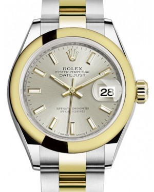 Rolex Lady Datejust 28 Yellow Gold/Steel Silver Index Dial & Smooth Domed Bezel Oyster Bracelet 279163 - BRAND NEW