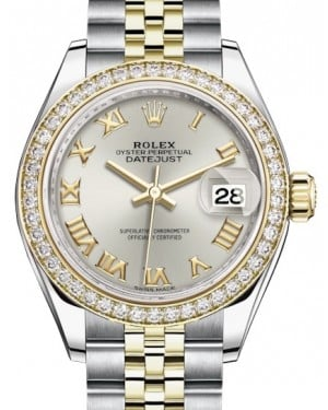 Rolex Lady Datejust 28 Yellow Gold/Steel Silver Roman Dial & Diamond Bezel Jubilee Bracelet 279383RBR - BRAND NEW