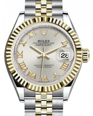 Rolex Lady Datejust 28 Yellow Gold/Steel Silver Roman Dial & Fluted Bezel Jubilee Bracelet 279173 - BRAND NEW