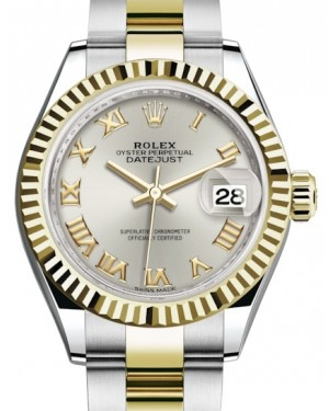 Rolex Lady Datejust 28 Yellow Gold/Steel Silver Roman Dial & Fluted Bezel Oyster Bracelet 279173 - BRAND NEW