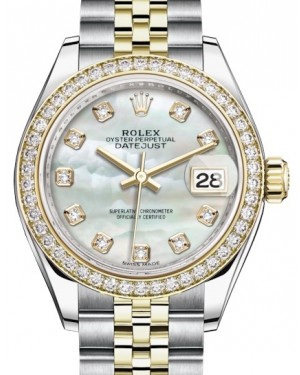 Rolex Lady Datejust 28 Yellow Gold/Steel White Mother of Pearl Diamond Dial & Diamond Bezel Jubilee Bracelet 279383RBR - BRAND NEW