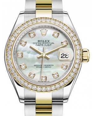Rolex Lady Datejust 28 Yellow Gold/Steel White Mother of Pearl Diamond Dial & Diamond Bezel Oyster Bracelet 279383RBR - BRAND NEW