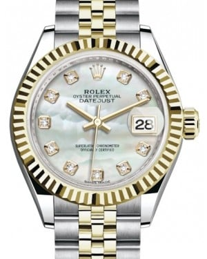 Rolex Lady Datejust 28 Yellow Gold/Steel White Mother of Pearl Diamond Dial & Fluted Bezel Jubilee Bracelet 279173 - BRAND NEW