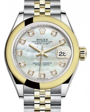 Rolex Lady Datejust 28 Yellow Gold/Steel White Mother of Pearl Diamond Dial & Smooth Domed Bezel Jubilee Bracelet 279163 - BRAND NEW