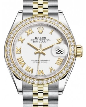 Rolex Lady Datejust 28 Yellow Gold/Steel White Roman Dial & Diamond Bezel Jubilee Bracelet 279383RBR - BRAND NEW