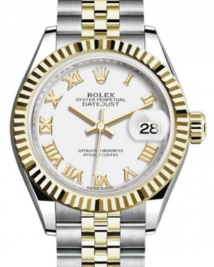 Rolex Lady Datejust 28 Yellow Gold/Steel White Roman Dial & Fluted Bezel Jubilee Bracelet 279173 - BRAND NEW