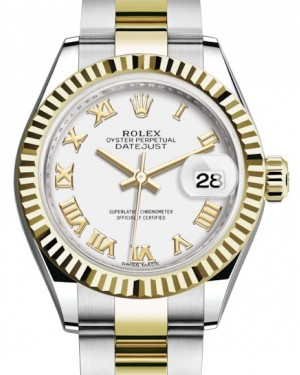 Rolex Lady Datejust 28 Yellow Gold/Steel White Roman Dial & Fluted Bezel Oyster Bracelet 279173 - BRAND NEW