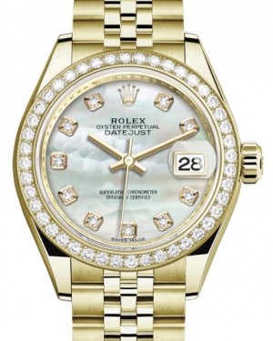 Rolex Lady Datejust 28 Yellow Gold White Mother of Pearl Diamond Dial & Diamond Bezel Jubilee Bracelet 279138RBR - BRAND NEW