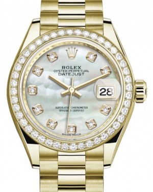 Rolex Lady Datejust 28 Yellow Gold White Mother of Pearl Diamond Dial & Diamond Bezel President Bracelet 279138RBR - BRAND NEW