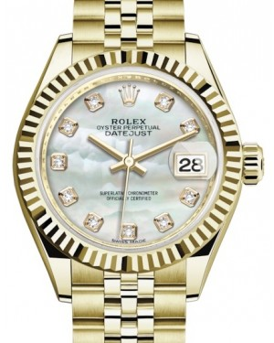 Rolex Lady Datejust 28 Yellow Gold White Mother of Pearl Diamond Dial & Fluted Bezel Jubilee Bracelet 279178 - BRAND NEW
