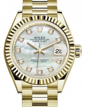 Rolex Lady Datejust 28 Yellow Gold White Mother of Pearl Diamond Dial & Fluted Bezel President Bracelet 279178 - BRAND NEW