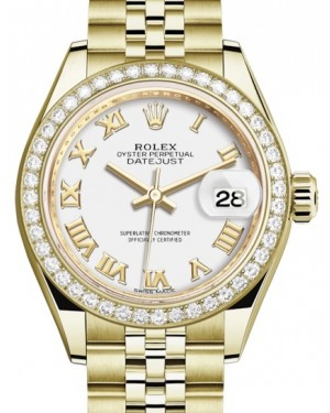 Rolex Lady Datejust 28 Yellow Gold White Roman Dial & Diamond Bezel Jubilee Bracelet 279138RBR - BRAND NEW