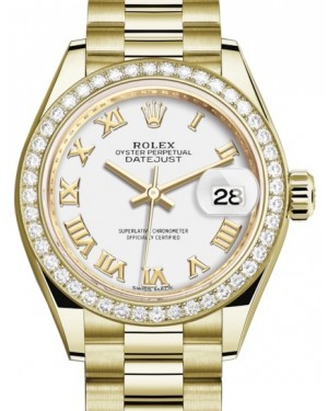 Rolex Lady Datejust 28 Yellow Gold White Roman Dial & Diamond Bezel President Bracelet 279138RBR - BRAND NEW