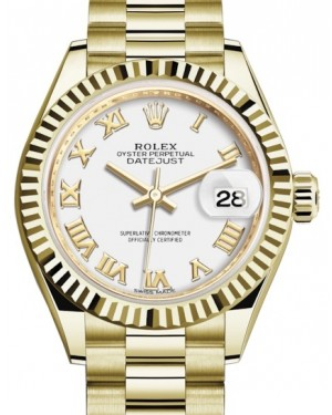Rolex Lady Datejust 28 Yellow Gold White Roman Dial & Fluted Bezel President Bracelet 279178 - BRAND NEW