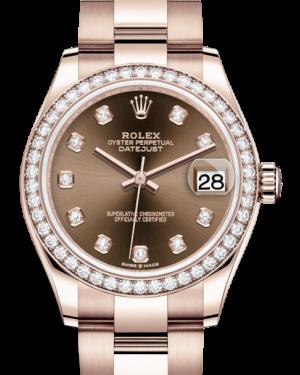 Rolex Lady-Datejust 31 Rose Gold Chocolate Diamond Dial & Diamond Bezel Oyster Bracelet 278285RBR - BRAND NEW