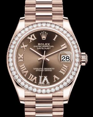 Rolex Lady-Datejust 31 Rose Gold Chocolate Roman Diamond VI Dial & Diamond Bezel President Bracelet 278285RBR - BRAND NEW