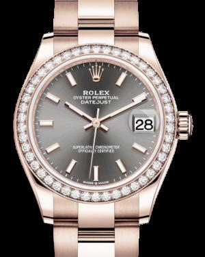 Rolex Lady-Datejust 31 Rose Gold Rhodium Index Dial & Diamond Bezel Oyster Bracelet 278285RBR - BRAND NEW