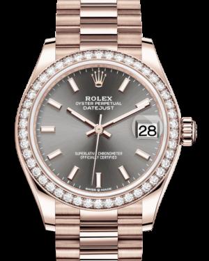 Rolex Lady-Datejust 31 Rose Gold Rhodium Index Dial & Diamond Bezel President Bracelet 278285RBR - BRAND NEW