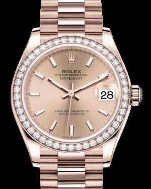Rolex Lady-Datejust 31 Rose Gold Rose Index Dial & Diamond Bezel President Bracelet 278285RBR - BRAND NEW