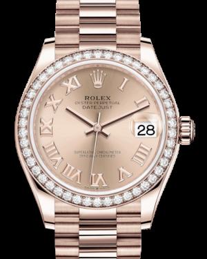 Rolex Lady-Datejust 31 Rose Gold Rose Roman Dial & Diamond Bezel President Bracelet 278285RBR - BRAND NEW
