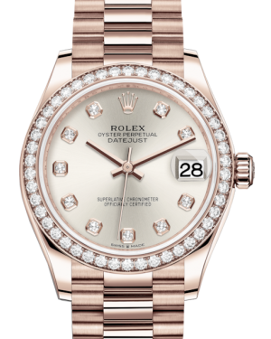 Rolex Lady-Datejust 31 Rose Gold Silver Diamond Dial & Diamond Bezel President Bracelet 278285RBR - BRAND NEW