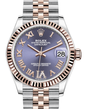 Rolex Lady-Datejust 31 Rose Gold/Steel Aubergine Roman Diamond VI Dial & Fluted Bezel Jubilee Bracelet 278271 - BRAND NEW