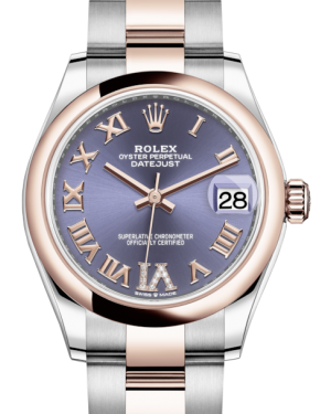Rolex Lady-Datejust 31 Rose Gold/Steel Aubergine Roman Diamond VI Dial & Smooth Domed Bezel Oyster Bracelet 278241 - BRAND NEW