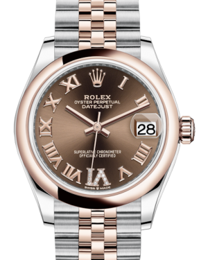 Rolex Lady-Datejust 31 Rose Gold/Steel Chocolate Roman Diamond VI Dial & Smooth Domed Bezel Jubilee Bracelet 278241 - BRAND NEW