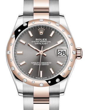 Rolex Lady-Datejust 31 Rose Gold/Steel Rhodium Index Dial & Domed Set with Diamonds Bezel Oyster Bracelet 278341RBR - BRAND NEW