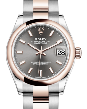 Rolex Lady-Datejust 31 Rose Gold/Steel Rhodium Index Dial & Smooth Domed Bezel Oyster Bracelet 278241 - BRAND NEW