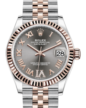 Rolex Lady-Datejust 31 Rose Gold/Steel Rhodium Roman Diamond VI Dial & Fluted Bezel Jubilee Bracelet 278271 - BRAND NEW