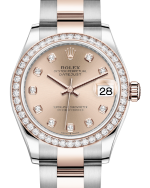 Rolex Lady-Datejust 31 Rose Gold/Steel Rose Diamond Dial & Diamond Bezel Oyster Bracelet 278381RBR - BRAND NEW