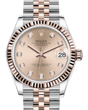 Rolex Lady-Datejust 31 Rose Gold/Steel Rose Diamond Dial & Fluted Bezel Jubilee Bracelet 278271 - BRAND NEW